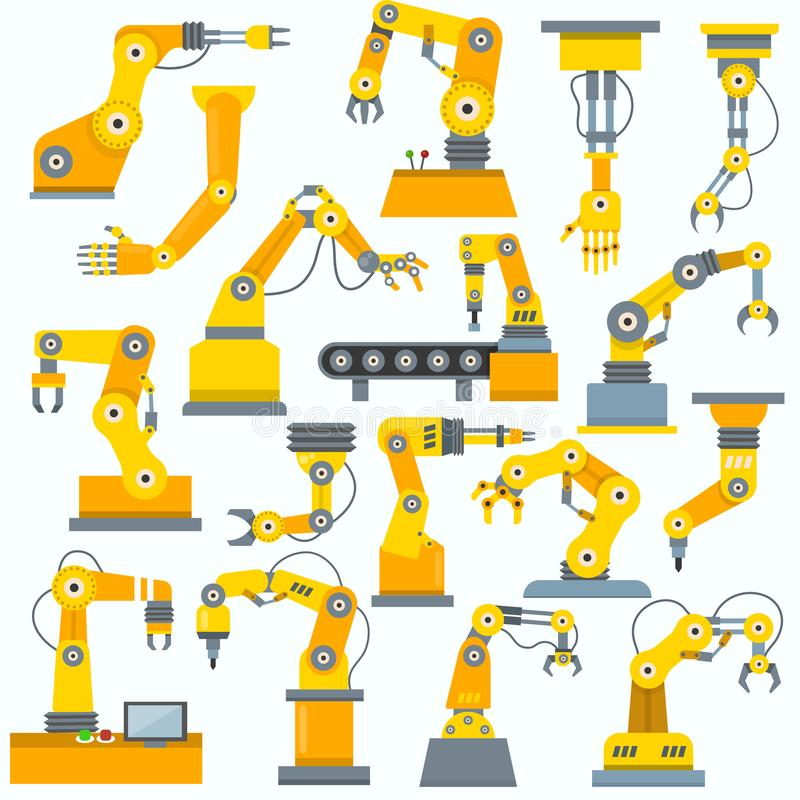Robot arm vector robotic machine hand indusrial equipment in manufacture illustration set of engineer character of royalty free illustration
