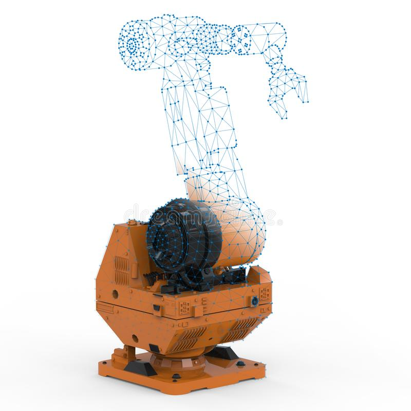 Robot arm with wireframe. Automation industry concept with 3d rendering robot arm with wireframe stock images