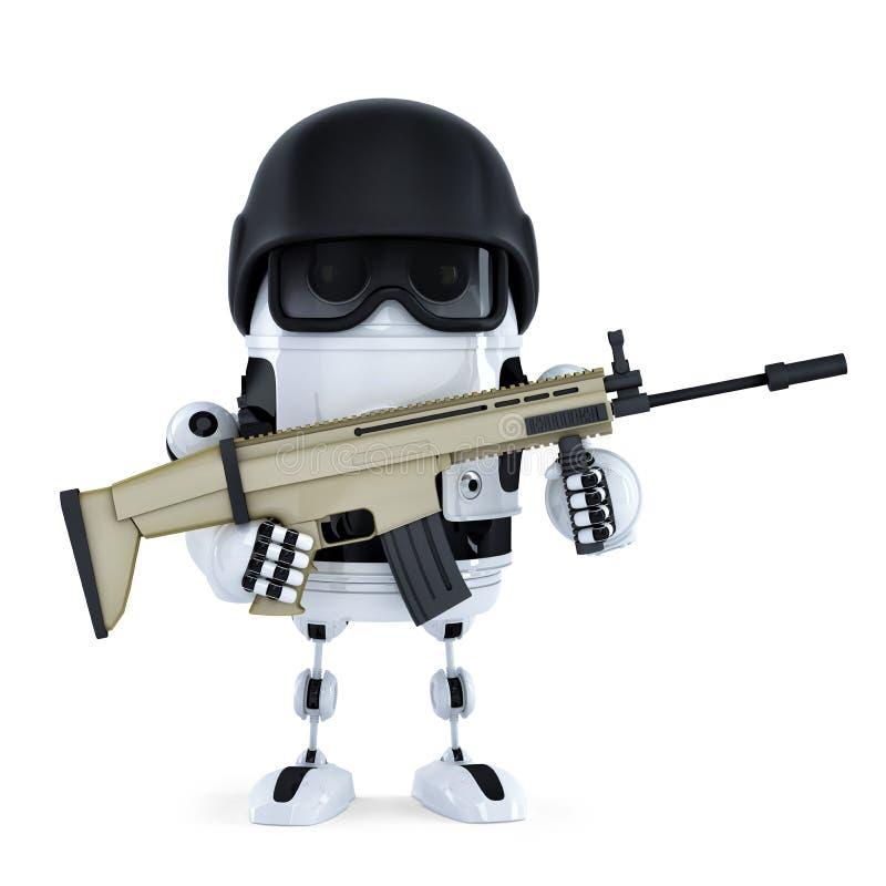 Robot armado Concepto de la seguridad de Techology Aislado ilustración del vector