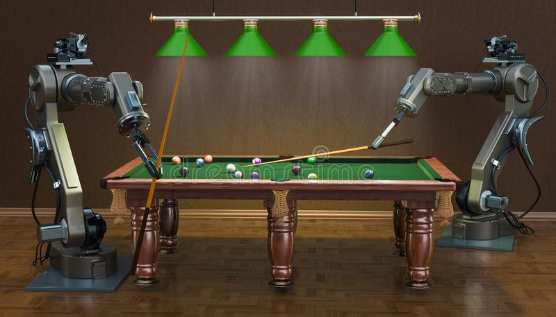 Robot arms play billiards, 3D rendering royalty free illustration