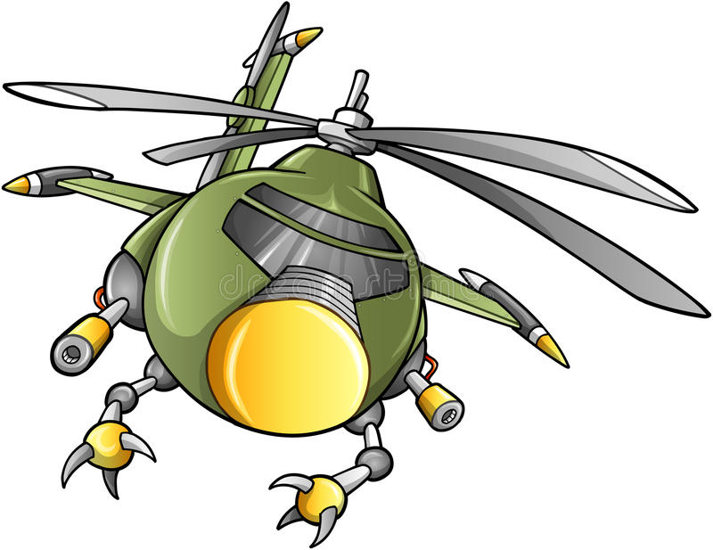 Robot Army Helicopter Vector royalty free illustration