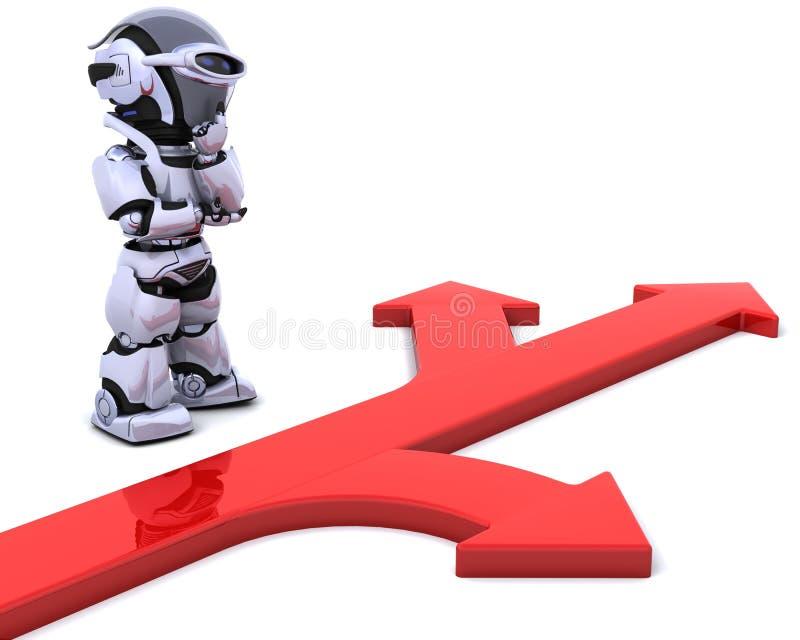 Robot with arrow symbol stock illustration