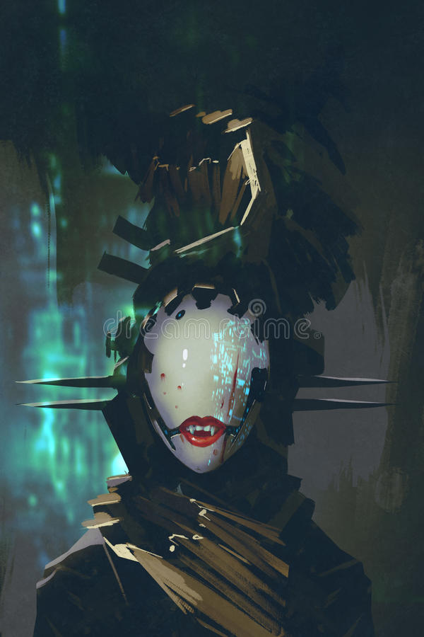 Robot with artificial face vector illustration