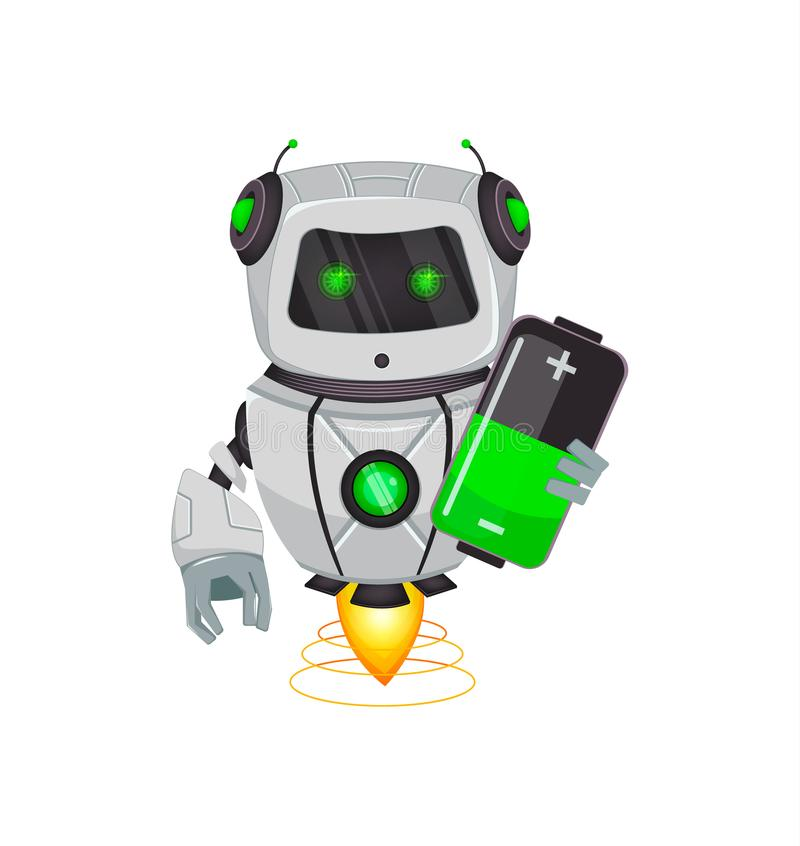 Robot with artificial intelligence, bot. Funny cartoon character holds battery. Humanoid cybernetic organism. Future concept. stock illustration