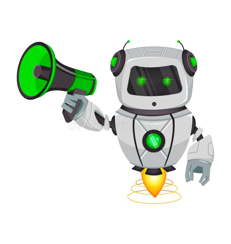 Robot with artificial intelligence, bot. Funny cartoon character holds loudspeaker. Humanoid cybernetic organism. Future concept. Vector Illustration stock illustration