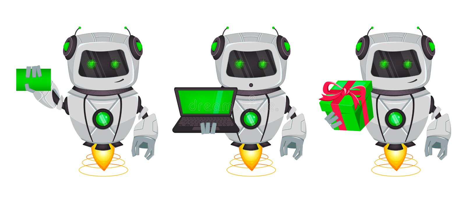 Robot with artificial intelligence, bot, set of three poses. Funny cartoon character holds blank business card, holds laptop and vector illustration
