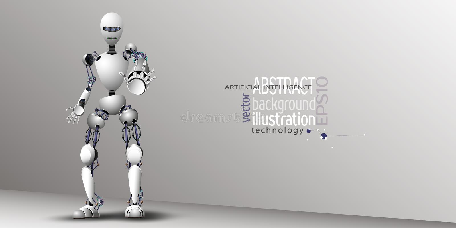 Robot Artificial Intelligence White for background, vector clipart royalty free illustration