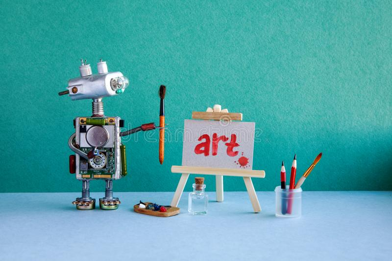 Robot artist, wooden easel and the handwritten picture. The word Art and blot, painted red watercolor. Interior fine art. School with a green wall, blue floor stock images