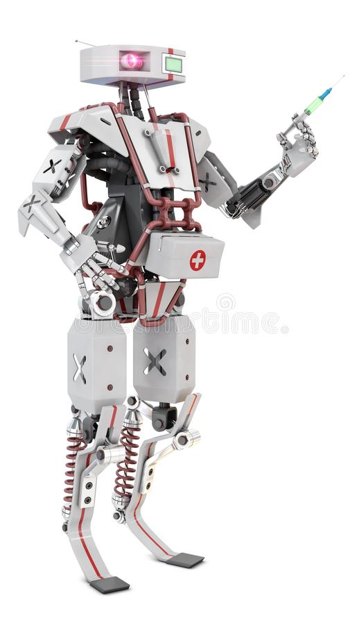 Robot arts met spuit vector illustratie
