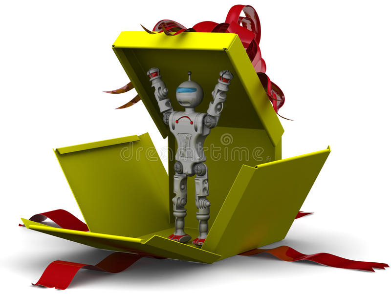 Robot as a gift royalty free illustration