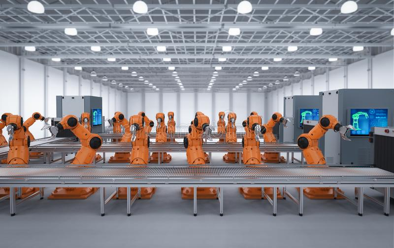 Robot assembly line royalty free illustration