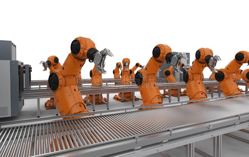 Robot assembly line stock illustration