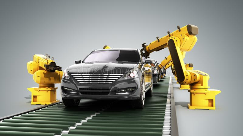 Robot assembly line in car factory 3d render on grey stock illustration