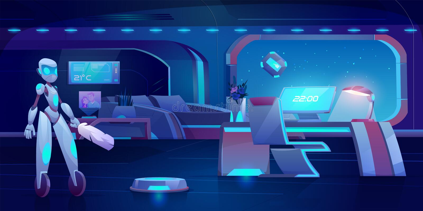Robot assistant automatic vacuum window cleaner. Robot assistant, automatic vacuum and window cleaner in futuristic bedroom with neon glowing furniture at night royalty free illustration