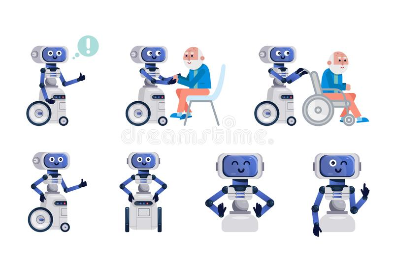 Robot assistant isolated. royalty free illustration