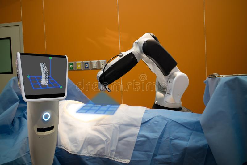 The robot assistant in medical technology use for scan a patient. Before spinal surgery and send the data of 3d spinal to the monitor on robot it help to stock image