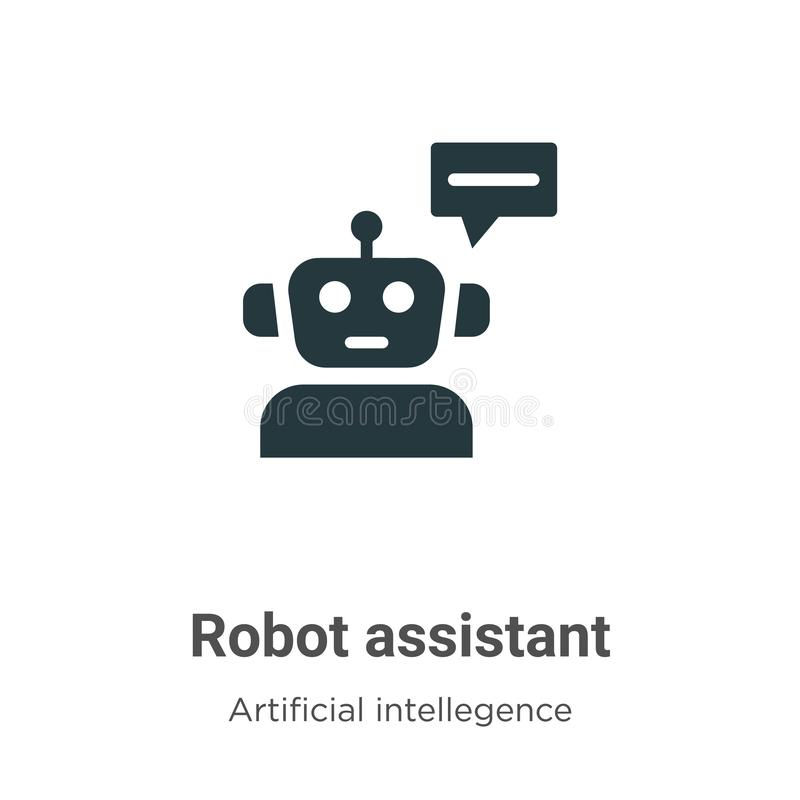 Robot assistant vector icon on white background. Flat vector robot assistant icon symbol sign from modern artificial intellegence vector illustration