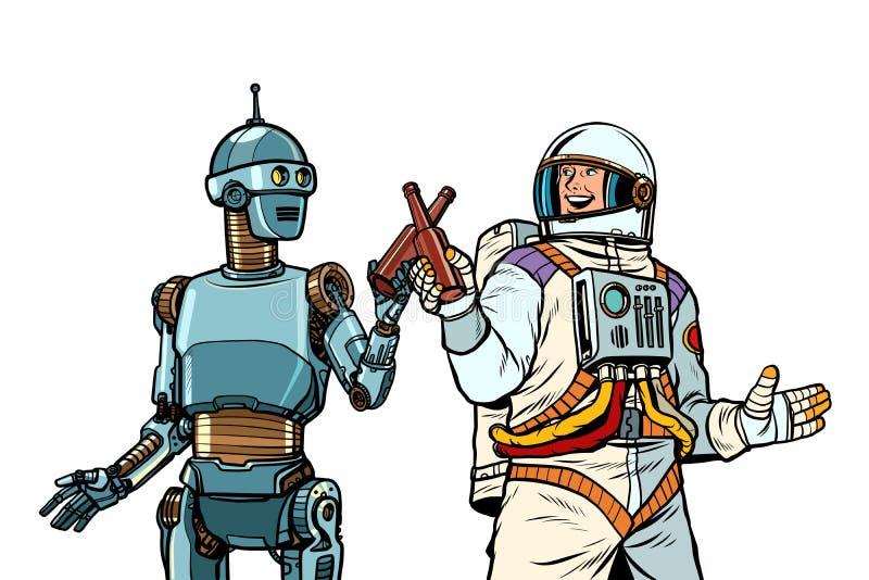 Robot and astronaut drink beer together. Pop art retro vector illustration drawing vintage kitsch stock illustration