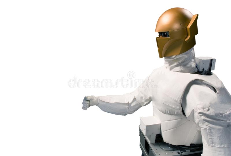 Robot astronaut isolated on a white background. Elements of this image were furnished by NASA royalty free stock photography