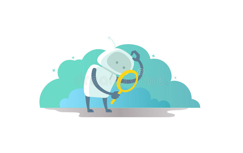 Robot astronaut with magnifier in hand looking for something. And scratches his head royalty free illustration