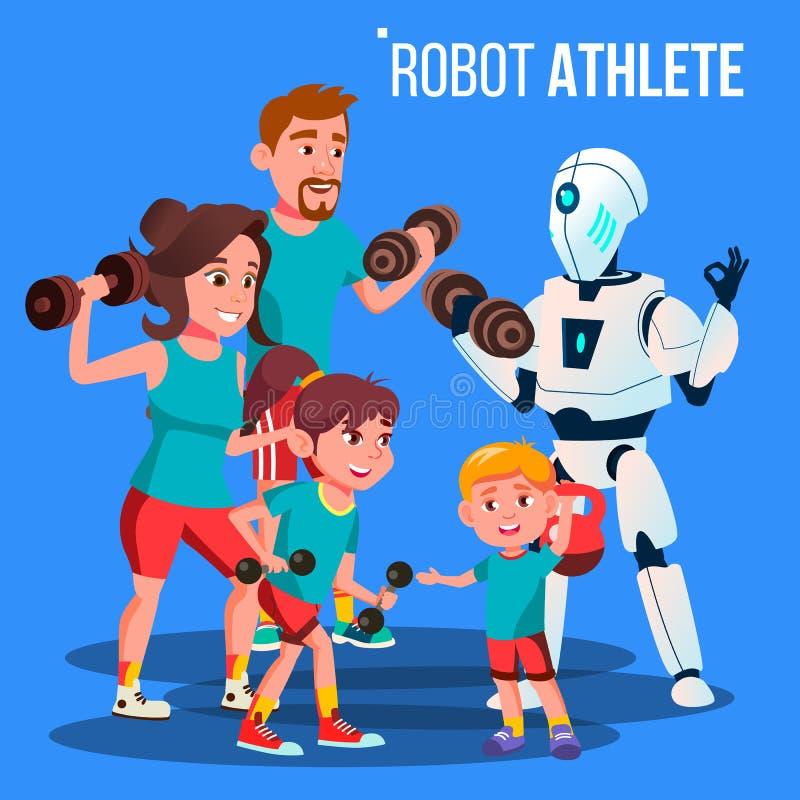 Robot atlety sprawności fizycznej Osobisty trener Z Dumbbells Wektorowymi button ręce s push odizolowana początku ilustracyjna ko royalty ilustracja
