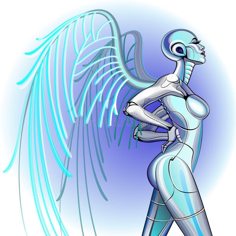 Robot atractivo de la muchacha stock de ilustración