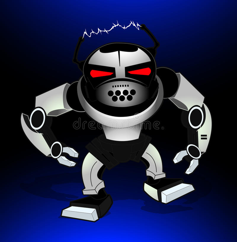 Robot attack warrior with red eyes royalty free illustration