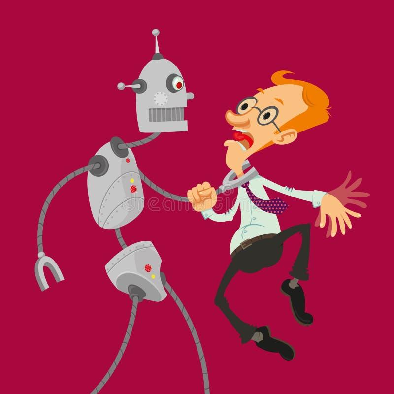 Robot attacked man stock illustration