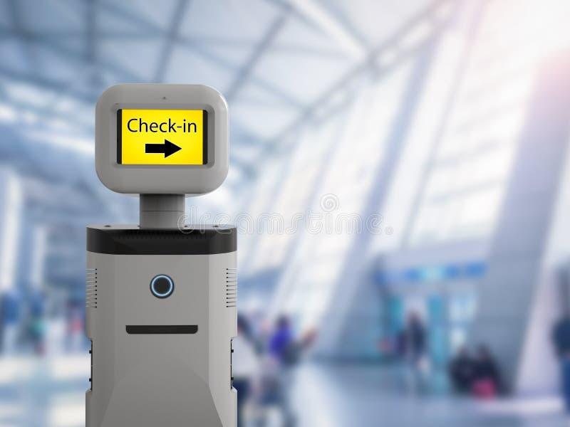 Robot auxiliaire dans l'aéroport illustration stock