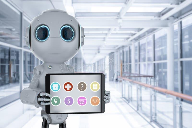 Robot auxiliar con la tableta