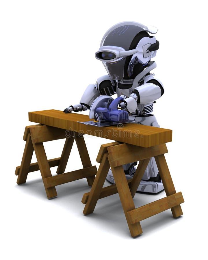 Robot avec du bois de découpage de scie de pouvoir illustration libre de droits