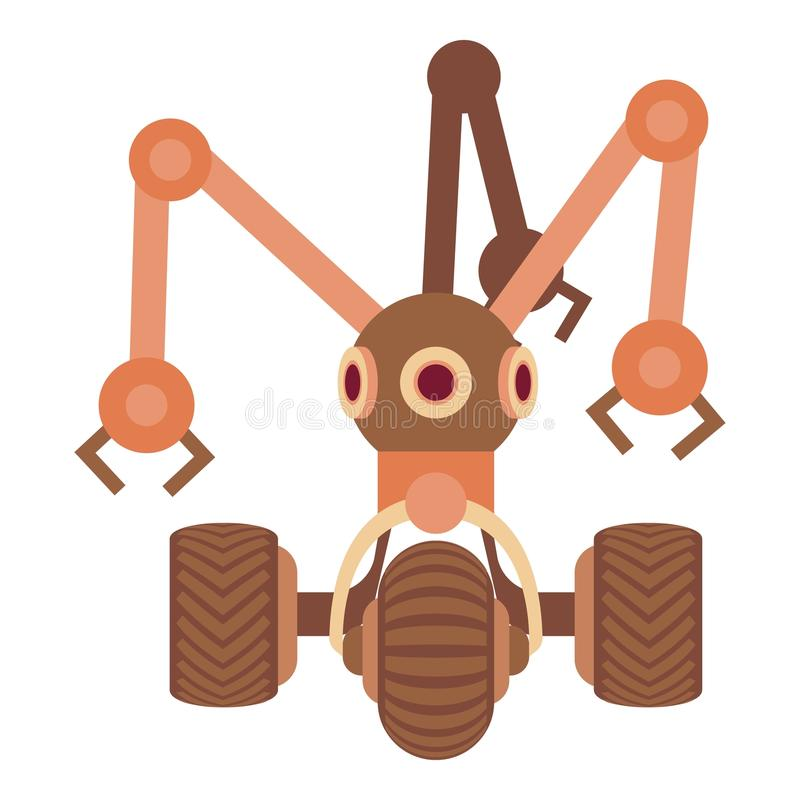 Robot avec l'icône de trois tentacules, style de bande dessinée illustration libre de droits