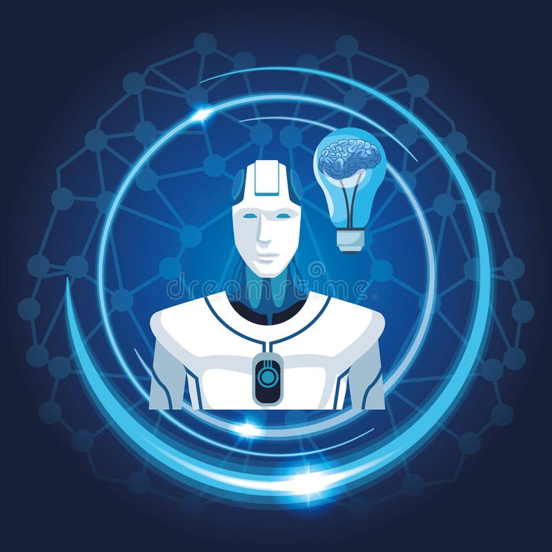 Robot avec l'intelligence artificielle illustration stock