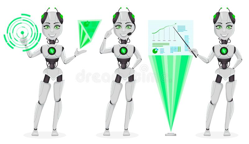Robot avec l'intelligence artificielle, bot femelle illustration stock