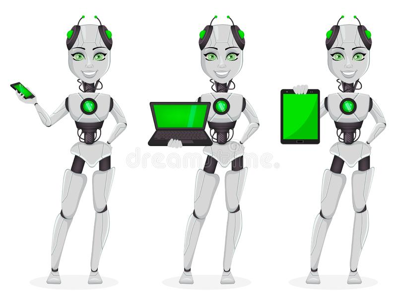 Robot avec l'intelligence artificielle, bot femelle illustration de vecteur