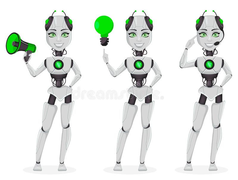 Robot avec l'intelligence artificielle, bot femelle illustration libre de droits