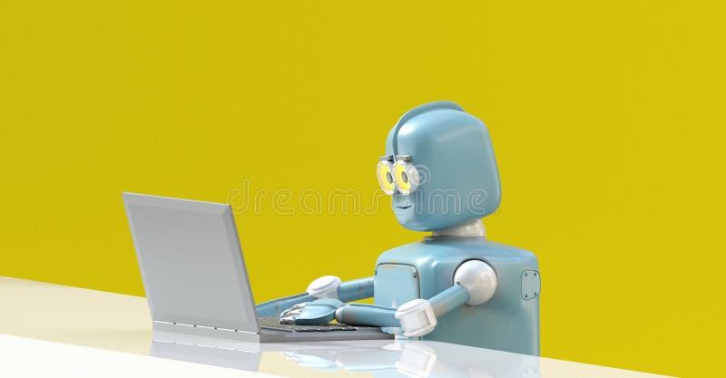 Robot avec l'ordinateur portable 3d rendre illustration de vecteur