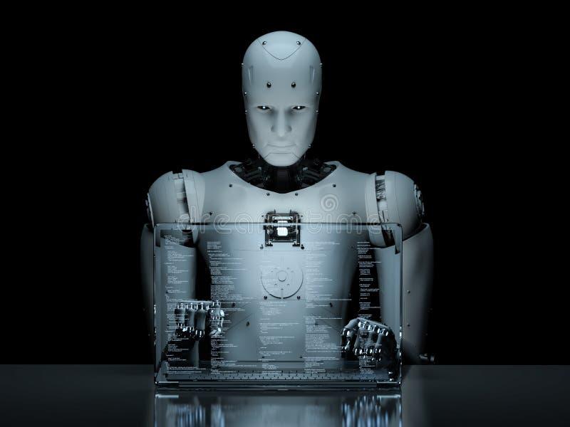 Robot avec l'ordinateur portable en verre illustration de vecteur