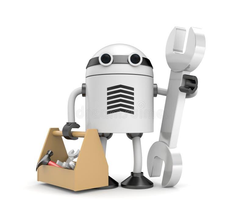 Robot avec la boîte en carton illustration de vecteur