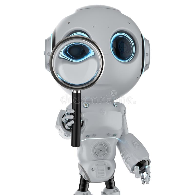 Robot avec la loupe illustration libre de droits