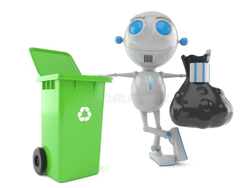 Robot avec la poubelle de poussière illustration stock