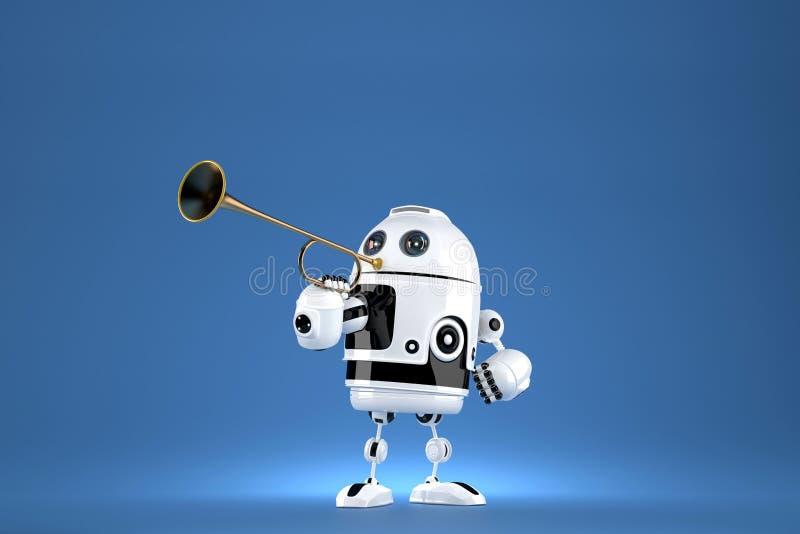 Robot avec la trompette d'or illustration 3D Proclamation d'une occasion spéciale Contient le chemin de coupure illustration stock