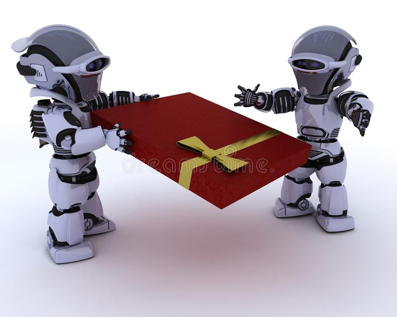 Robot avec le cadeau romantique illustration stock