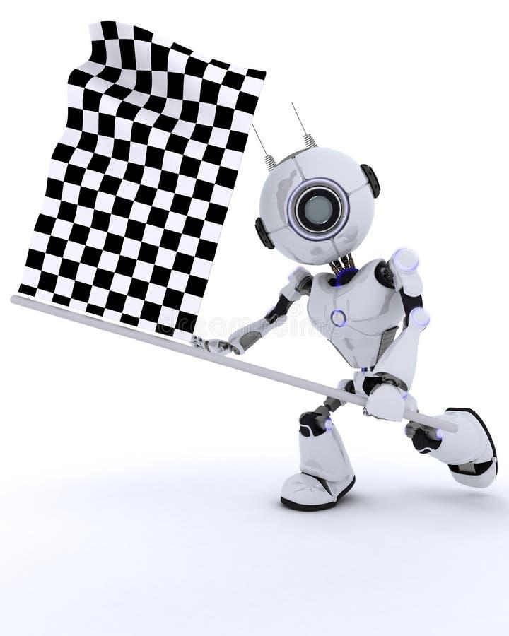 Robot avec le drapeau quadrillé illustration de vecteur