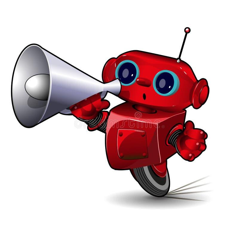 Robot avec le mégaphone illustration libre de droits