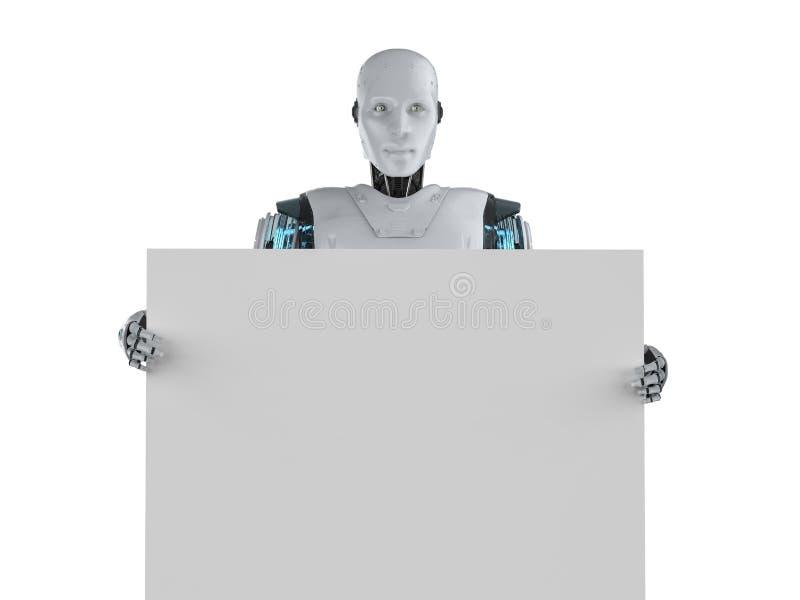 Robot avec le panneau blanc illustration de vecteur
