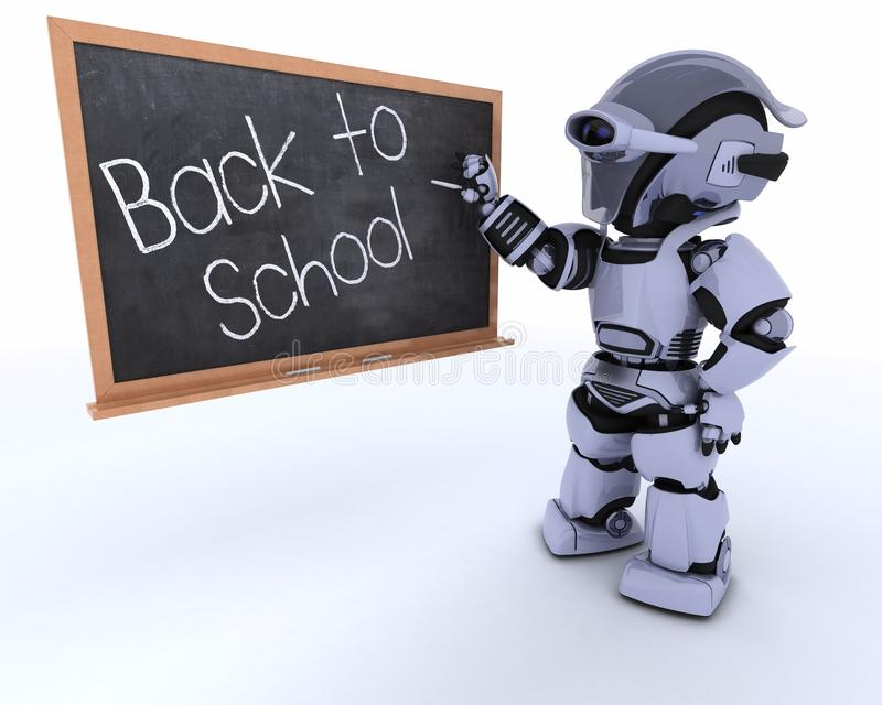 Robot avec le panneau de craie d'école de nouveau à l'école illustration stock