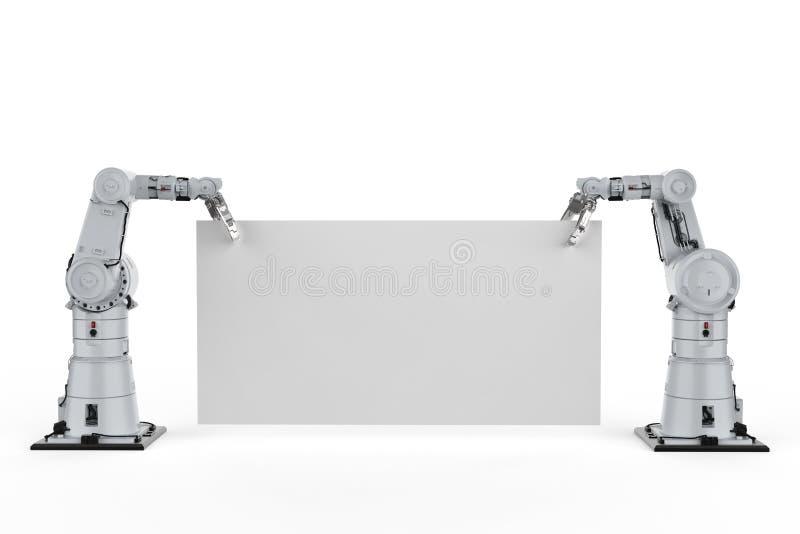 Robot avec le papier blanc illustration stock