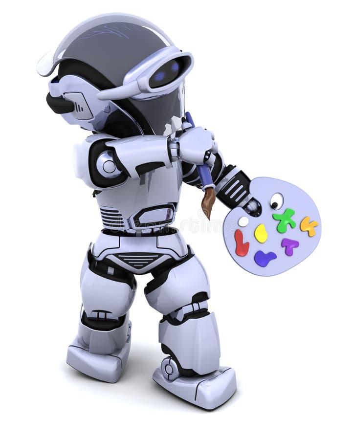 Robot avec le pinceau de pallette et illustration stock