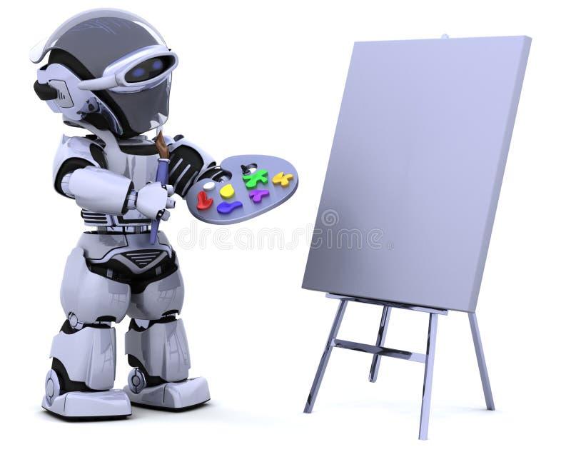 Robot avec le pinceau de pallette et illustration de vecteur
